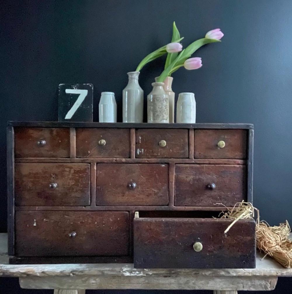 vintage wooden scratch made drawers desktop storage