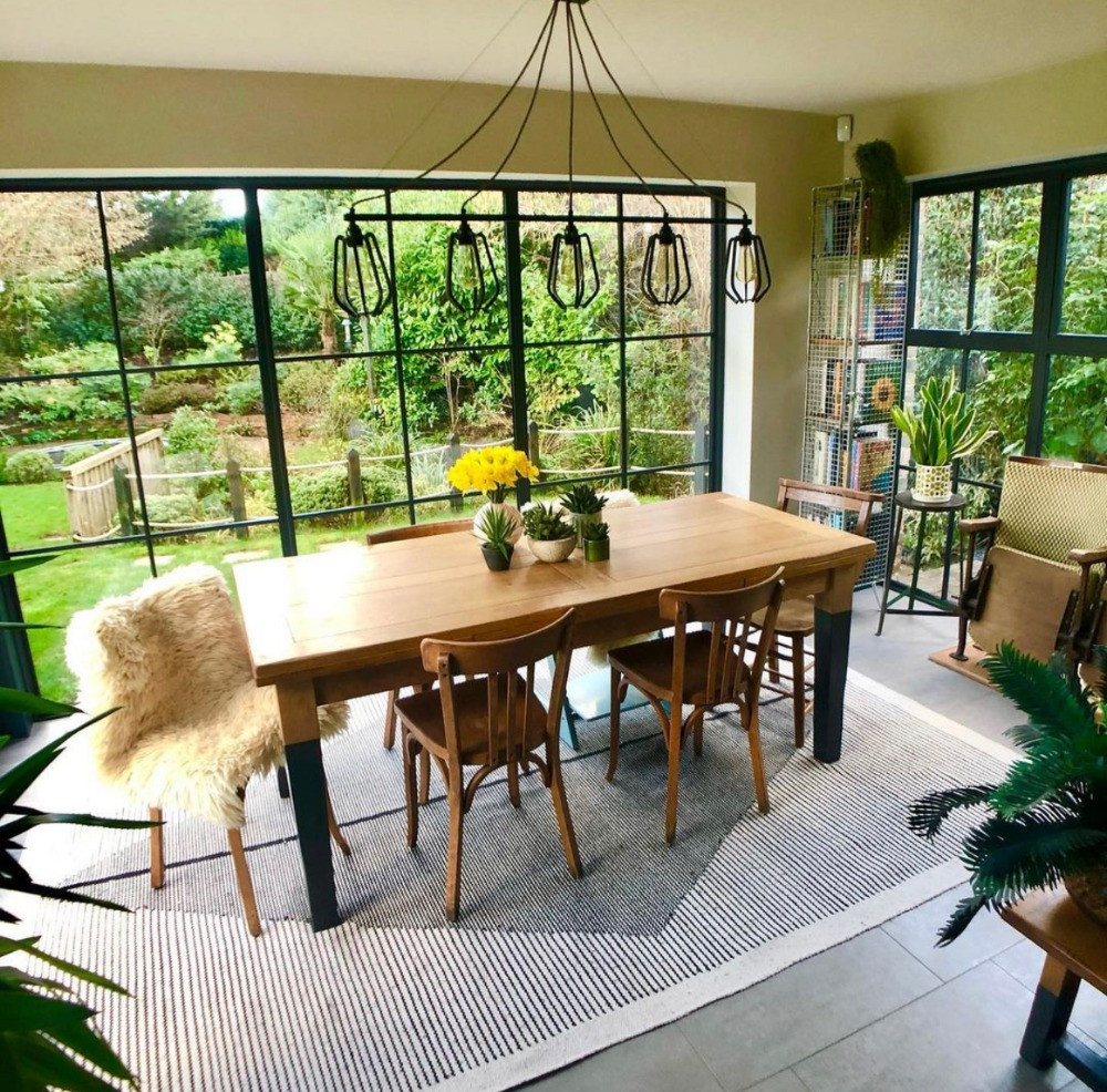 dining room overlooking garden crittall doors