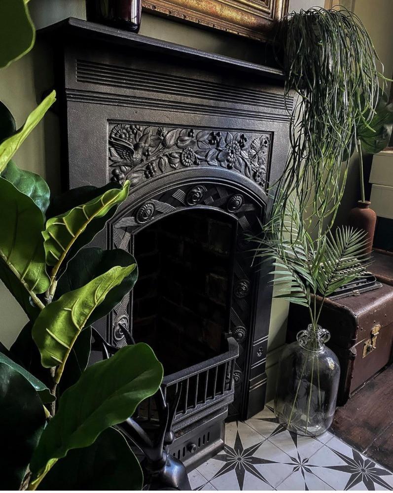 period fireplace dark decor living room green plants star tiled hearth