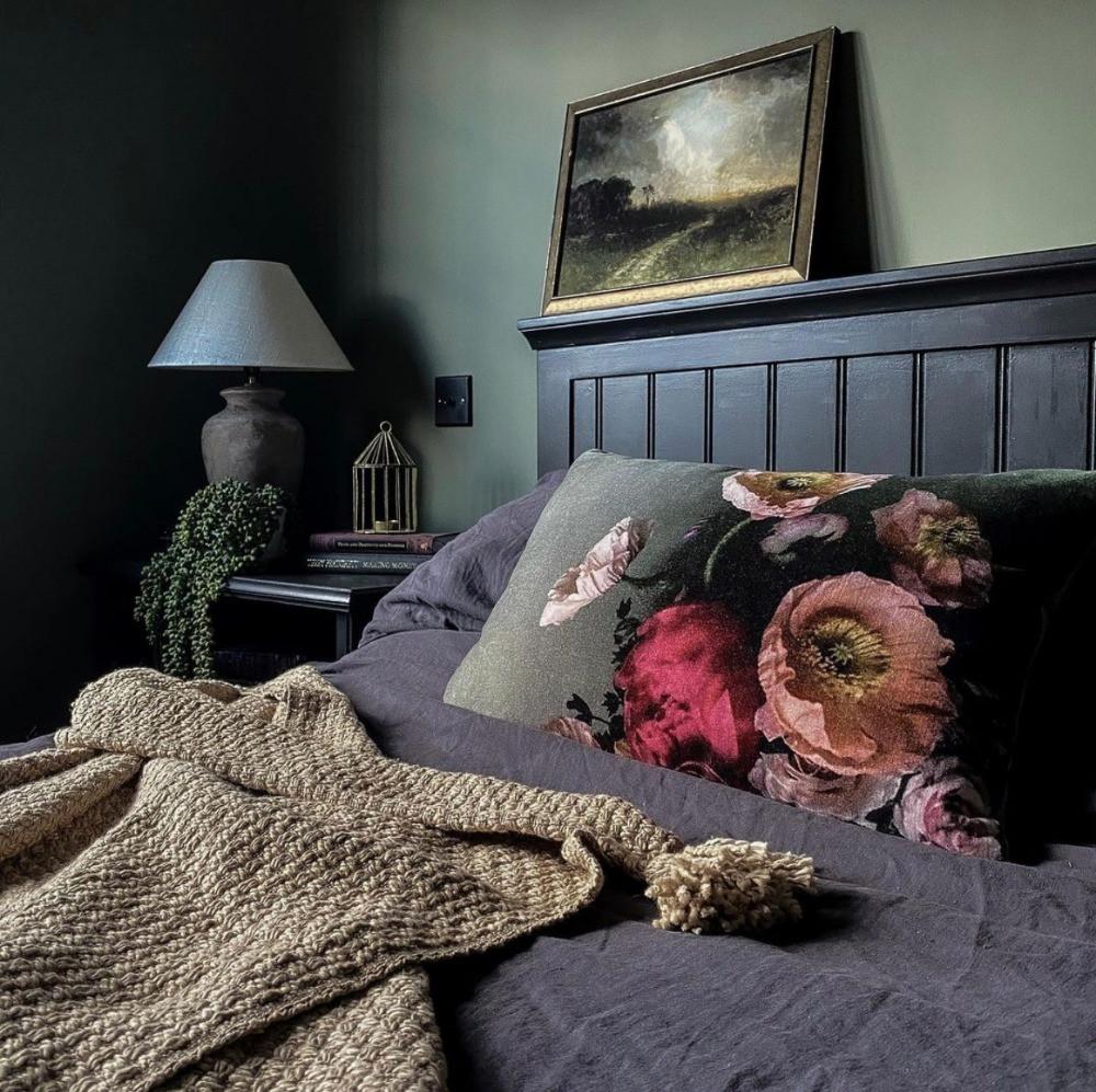 green bedroom dark decor floral cushion