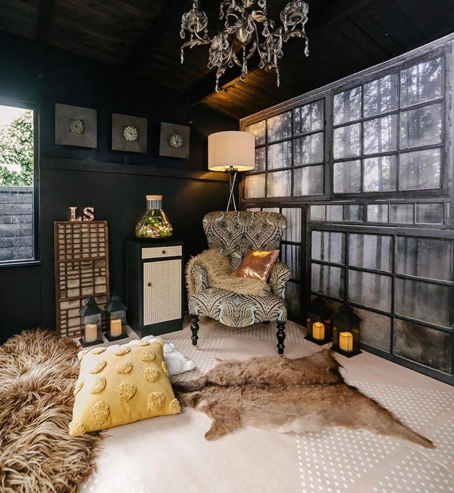 log cabin decor woodland windows mural chandelier cosy interior
