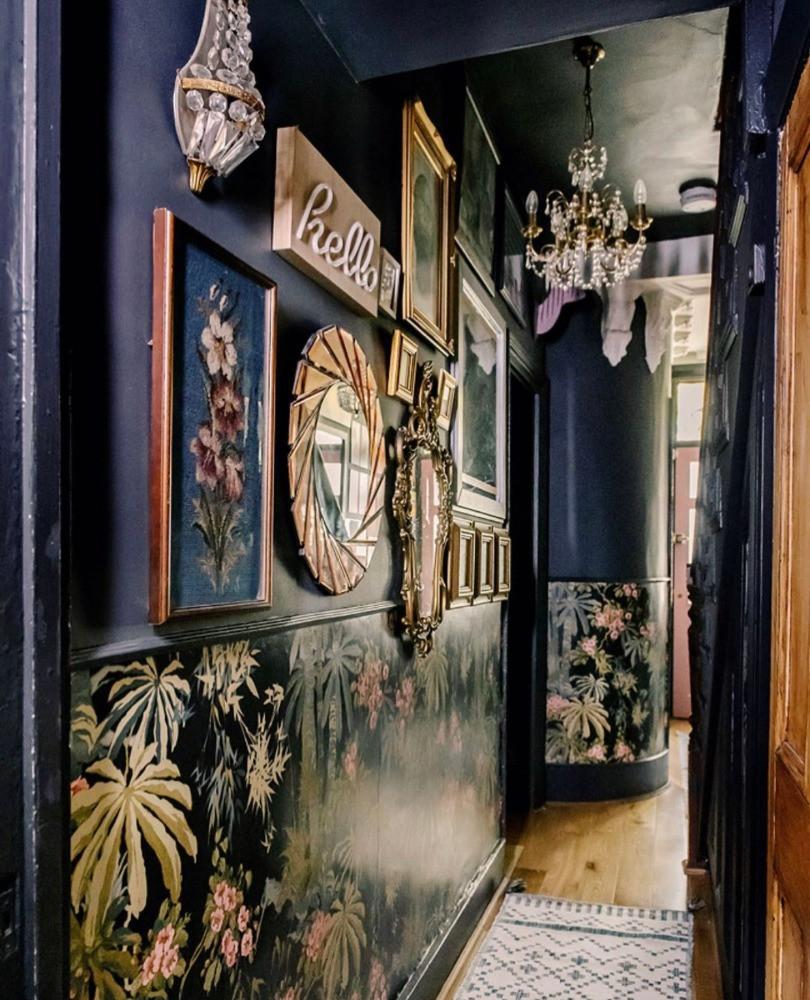 dark hallway decor gallery wall oriental wallpaper Victorian house house
