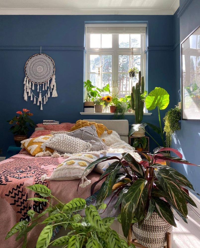 house plant filled blue bedroom
