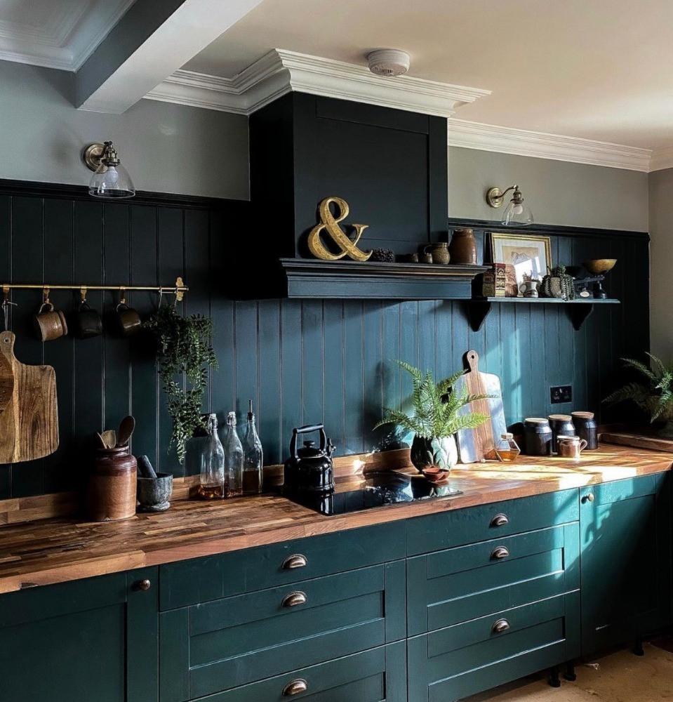studio green kitchen reclaimed timber farrow & ball dark decor interiors inspiration sustainable home