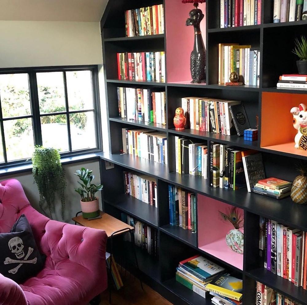 colour pop painted bookshelves pin velvet chair