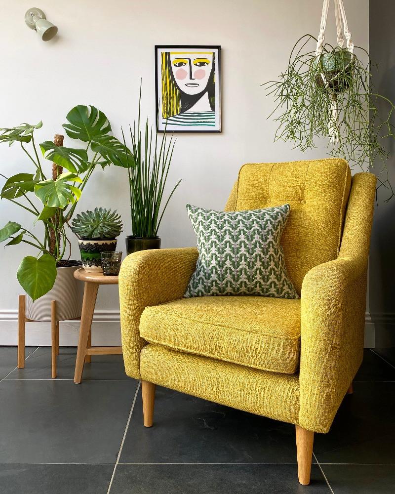 Mid-Century modern bedroom orange wool upholstered bed Mini Moderns net & ball wallpaper welsh blanket