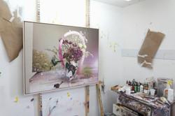 Painting in progress in the studio