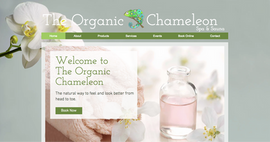 The Organic Chameleon Spa website