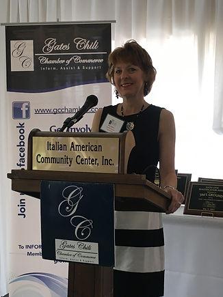 Mary Sperr speaking at 2017 Chamber Awards dinner