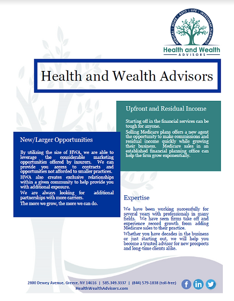 Health & Wealth Advisors flyer create by Blue Lilac Marketing Group