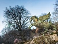 garden, Pegasus taking off