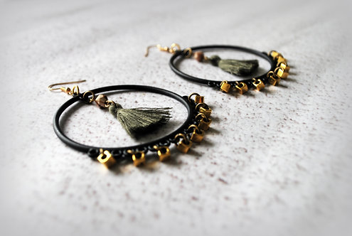 SALMA | Tassel Hoop Earrings