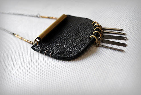 WILMA | Black Leather Bohemian Necklace