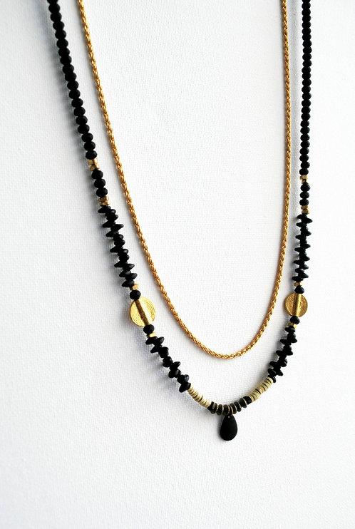 מייסי | שרשרת חרוזים קטנים כפולה שחור וזהב