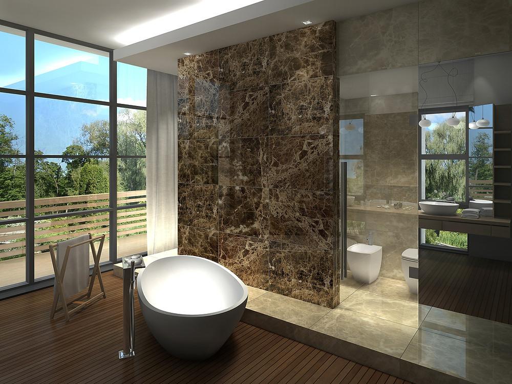 Bathroom With Wood Look Porcelain on Floors and Dark Emperador Marble Tiles