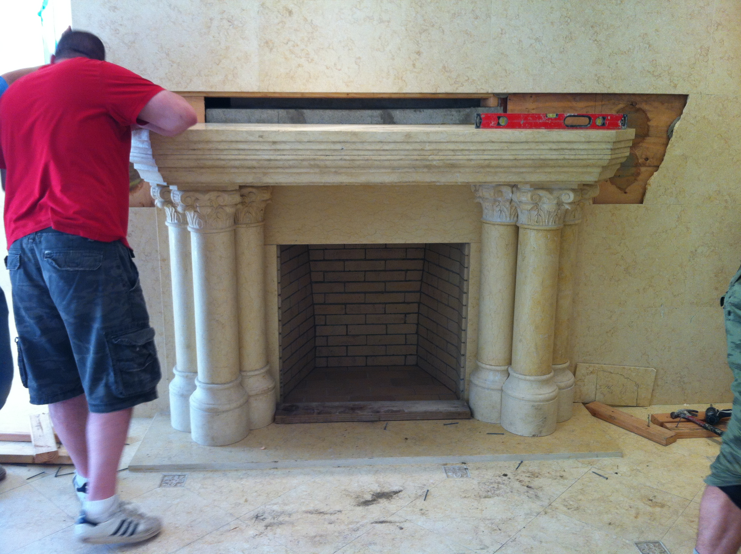 Carved Stone Fire Place