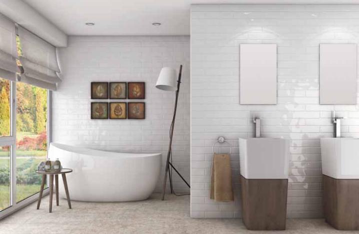 White Bathroom with Hand Glazed White Ceramic