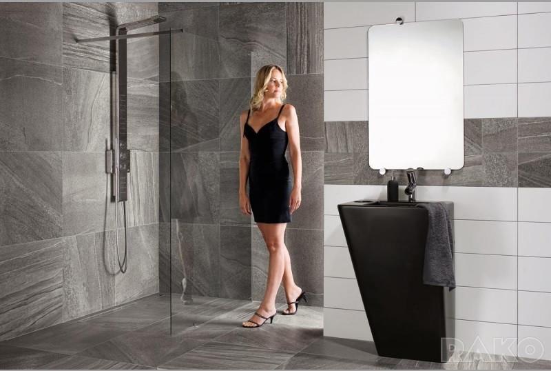 Grey Bathroom with Grey Porcelain From Rako