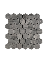 HONED HEXAGON MOSAIC BLUE WOOD