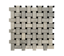 BASKETWEAVE ARABESCATO WITH BLACK DOT MOSAIC