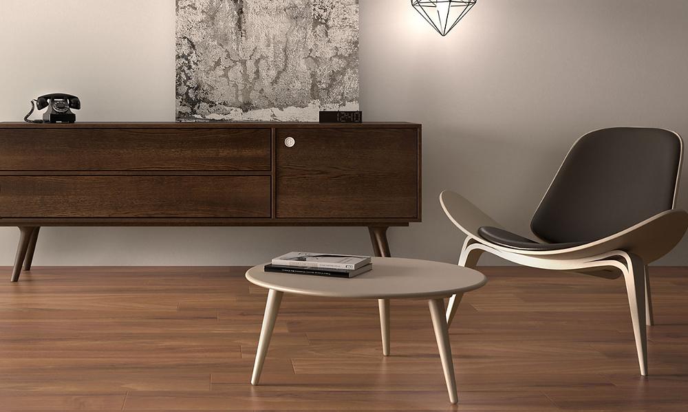 Elegant Living Room With WoodLook Porcelain