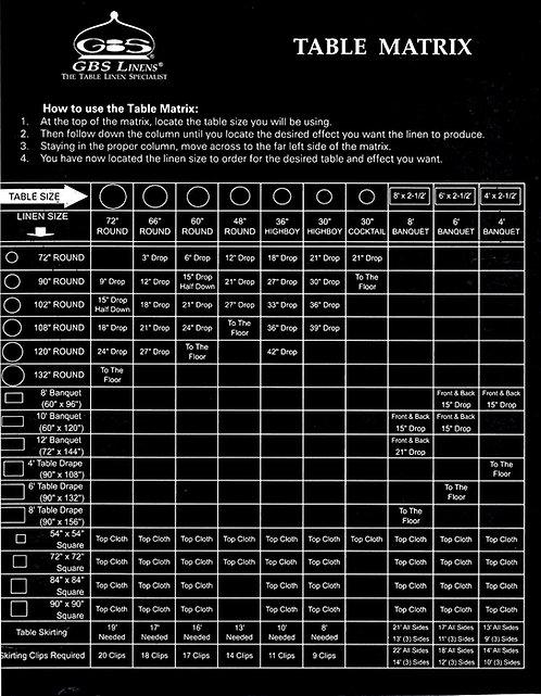 Table Size Matrix