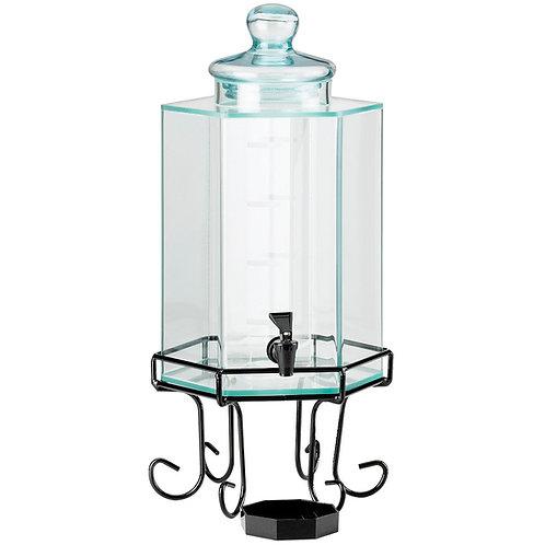 Hexagon Glass Beverage Dispenser w/ Stand