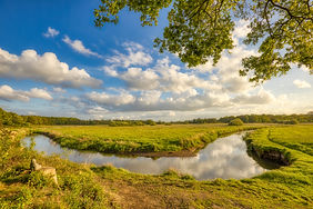 Meandering river in the countryside on a