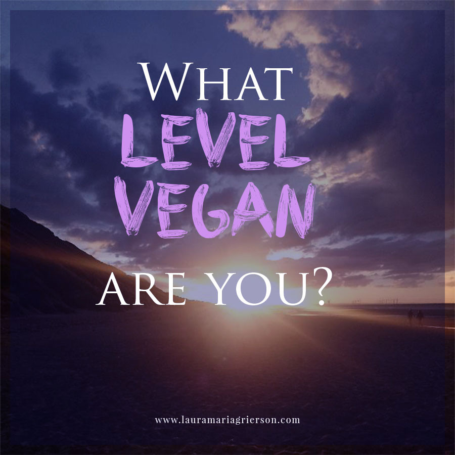 """Icon with title """"What Level Vegan Are You?"""" over a sunset background"""