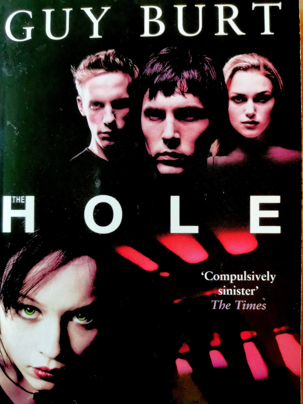 Cover of Guy Burt's 'After the Hole' showing the actors from the film: Liz in the bottom looking intense and Geoff, Mike, and Frankie above