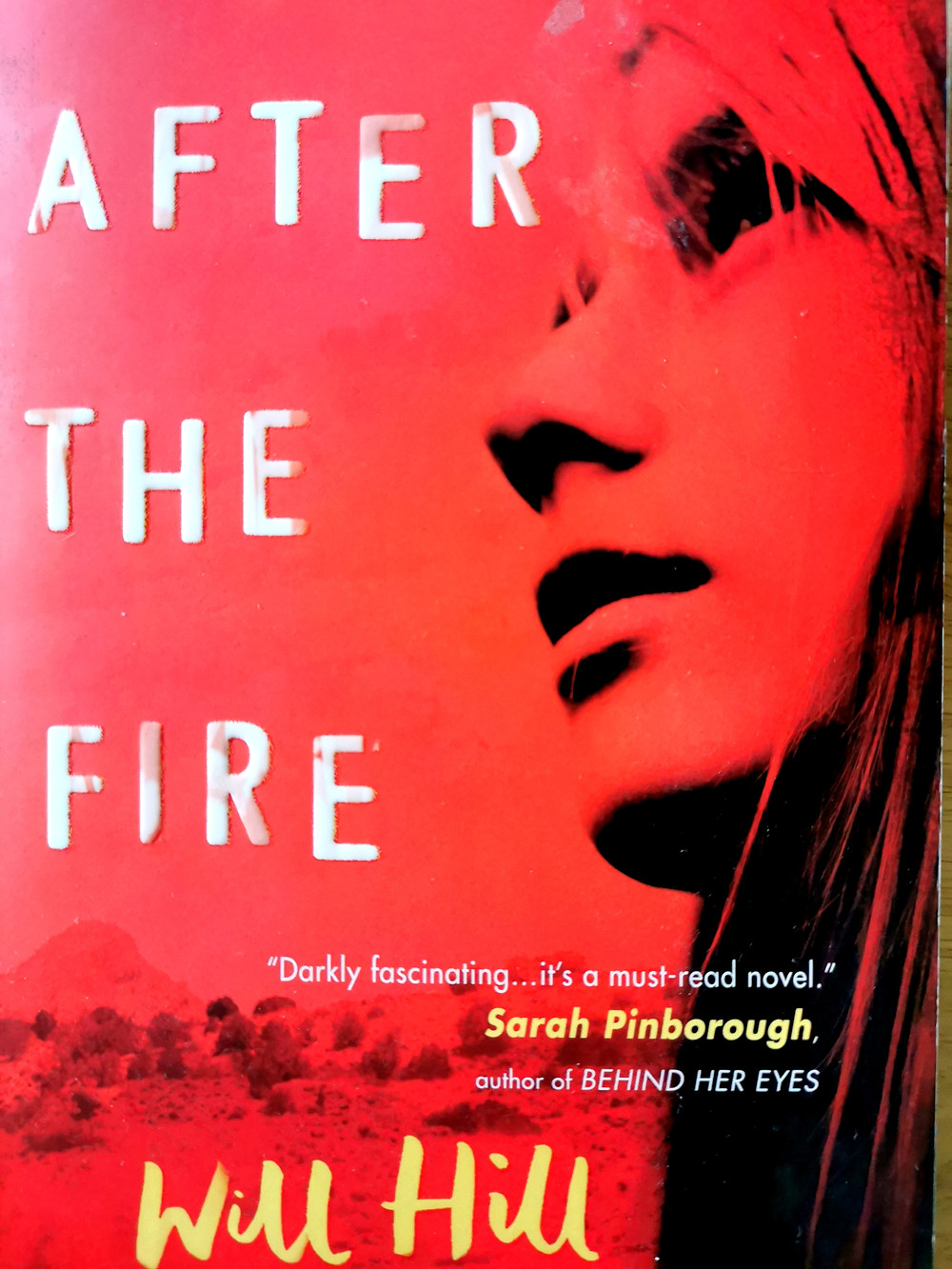cover photo of Will Hill's 'After the Fire': a red background with a teenage girl's face