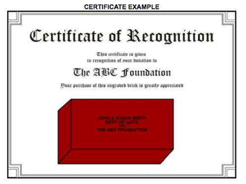 Add-on: Brick Donor Certificate