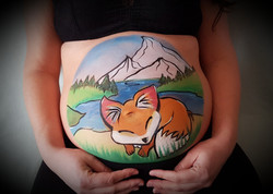 Belly painting renard au bord du lac