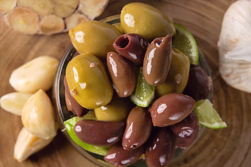 Lime and Garlic Marinated Olives
