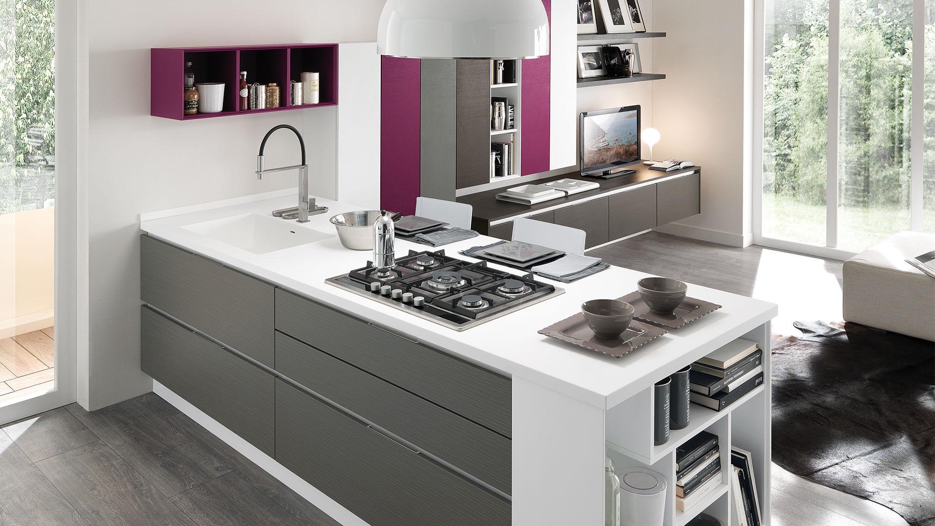 Cucine Moderne Bianche E Grigie Lube.01 Design Cucine Moderne