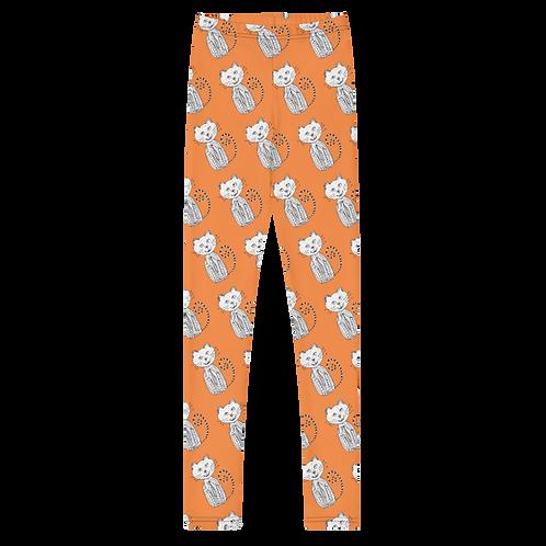 Gatito Orange Youth Leggings