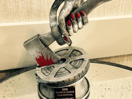 Lunch Ladies Display Awards From Women In Horror, Austin Revolution, Fargo And NOLA Horror