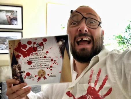 Director JM Logan Fights Lunch Ladies For Stolen Oregon Scream Week Award