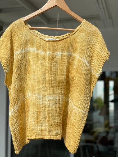 sleeveless marigold gauze top