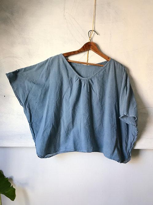 vintage thrift indigo freedom top