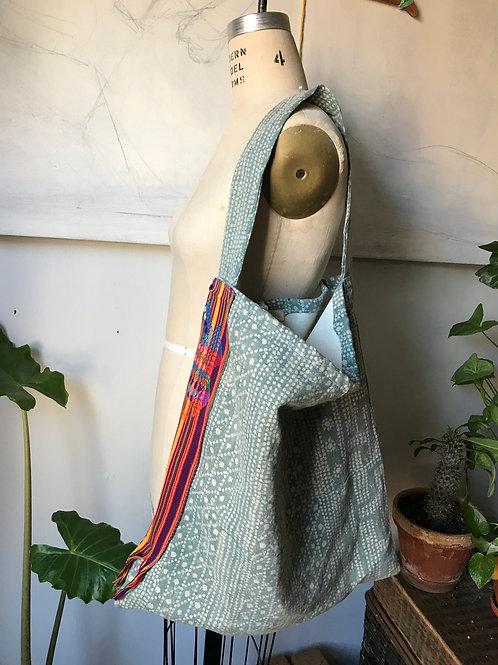 blue batik bag wide strap no pocket