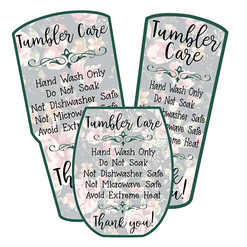 Green Floral • Tumbler • Care Cards