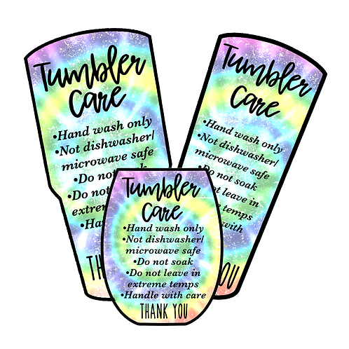 Tie Dye • Tumbler • Care Cards