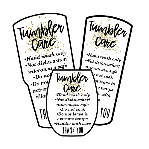 Gold Glitter • Tumbler • Care Cards
