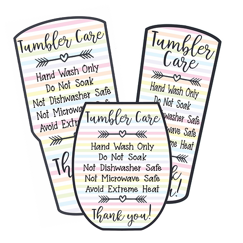 Pastel Stripes • Tumbler • Care Cards