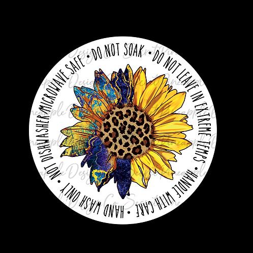 Funky Sunflower • Cup Bottom • Care • Sticker Sheet
