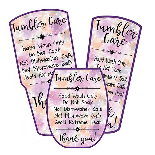 Purple Floral • Tumbler • Care Cards