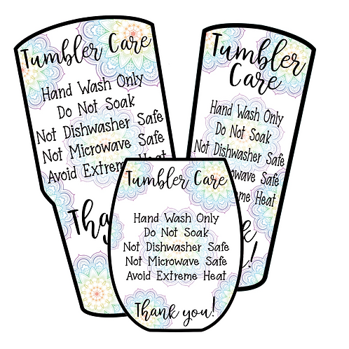 Mandala • Tumbler • Care Cards