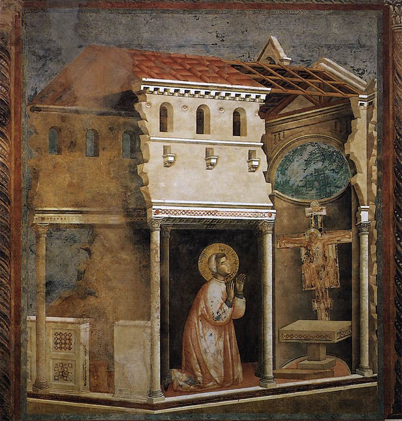 Saint Francis Third Order Confraternity of Penitents shows Saint Francis of Assisi praying before San Damiano Crucifix