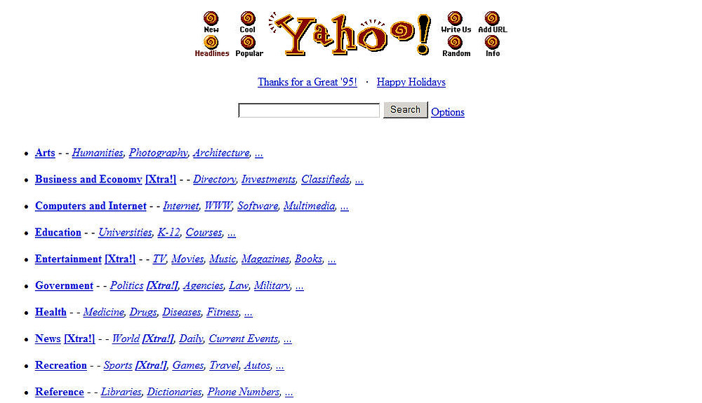Page accueil Yahoo ! 1995